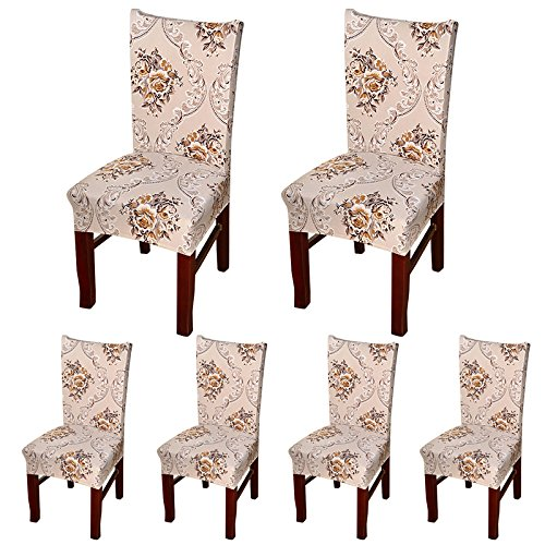 ColorBird European Style Spandex Fabric Chair Slipcovers Removable Universal Stretch Elastic Chair Protector Covers for Dining Room, Hotel, Banquet, Ceremony (Set of 6, Brown Baroque) (Dining Set Banquet)