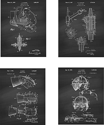 Welding Patent Wall Art Prints – set of Four (8×10) Unframed – wall art decor for Welders
