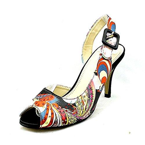SendIt4Me Ladies Patterned Diamante Studded Slingback Sandals/Shoes Black IQacRauL3