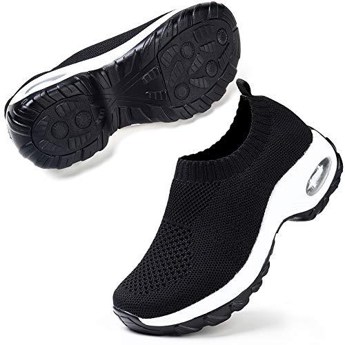 Womens Slip On Breathe Mesh Walking Shoes Women Fashion Dance Sneakers Comfort Wedge Platform Loafers Black 7.5