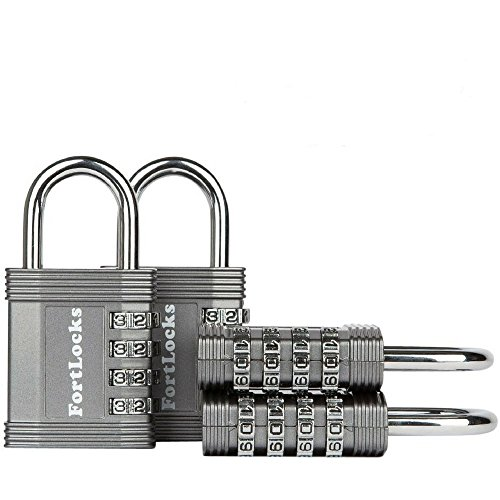 FortLocks Padlock Set - 4 Digit Combination Lock for Gym Outdoor & School Locker, Fence, Case & Shed  Heavy Duty Resettable Set Your Own Combo  Waterproof (Silver, 4 Pack)