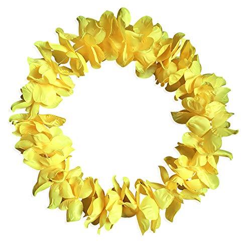 ZTY66 Hawaiian Luau Party Supplies-Hawaiian Leis with Hawaiian Flower Hair Clips(36 Pieces), Perfect for Your Hawaii Luaus (Yellow) -