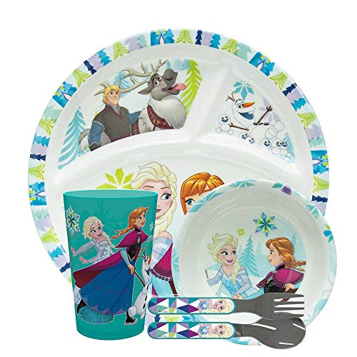 Childs Dinner - Zak Designs Disney Frozen Elsa & Anna Kids Dinnerware Set, Include Sectioned Dinner Plate, Melamine Bowl, Kids Cup, Easy Grip Fork and Spoon Flatware Set for Children (5 Pcs, Disney Frozen, BPA Free)