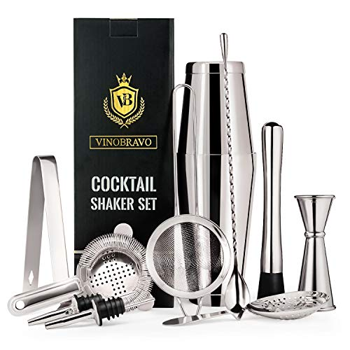 Cocktail Drink - Vinobravo 11-Piece Boston Cocktail Drink Shaker Set Made From 304 Stainless Steel Bar Tools Bartender Kit with Recipe of 30 Classic Mixing Drinks