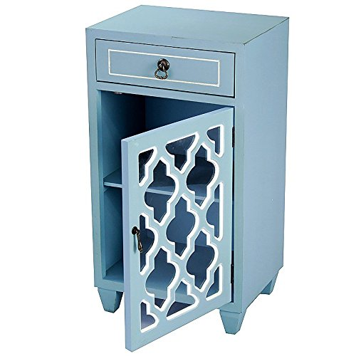 Heather Ann Creations Standing Single Drawer Distressed Storage Cabinet with Multi Clover Glass Window Inserts, 30'' x 18'', Aqua by Heather Ann Creations (Image #3)
