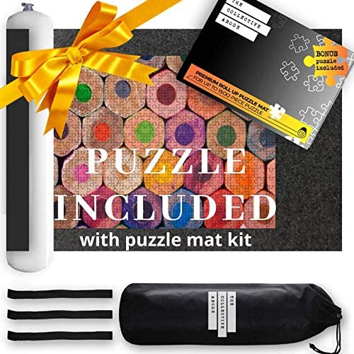 Puzzle Mat Roll Up for Jigsaw Puzzles Includes a Bonus 500 Piece Jigsaw Puzzle