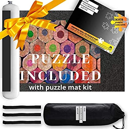 Aibecy Puzzle Roll Up Mat Feltro Storage Mat Puzzle Saver con tubo gonfiabile Borsa di stoccaggio con coulisse per bambini Adulti per 1500 pezzi Mini pompa 3 elementi di fissaggio