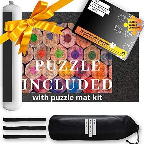 Puzzle Mat Roll Up for Jigsaw Puzzles Includes a Bonus 500 Piece Jigsaw Puzzle. Large Felt Mat for 500 1000 & 1500 pieces. A Full Set Packaged Nicely in a Quality Box