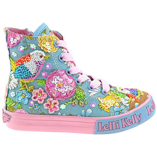Lelli Kelly LK5092 (BO02) Turquoise Fantasy Birdie Canvas Baseball Boots-31 (UK 12.5)