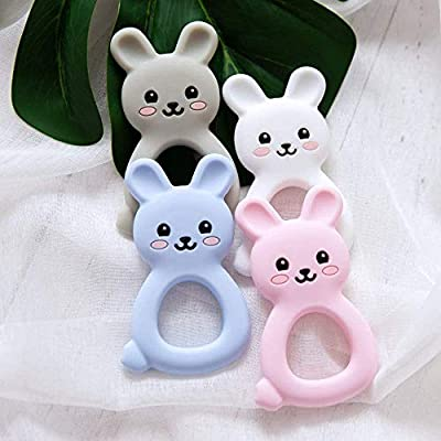 Baby Accessories Cute Silicone Bunny Baby Teethers BPA Free Food Grade Materials 4Pcs Rabbit Shaped Teether Ring Sensory Toy Newborn Gift: Toys & Games