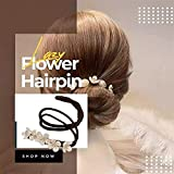 4 PCS Lazy Flower Hairpin,Vintage Pearl Flower