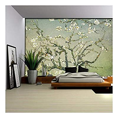 Olive Green with Green Vignette Almond Blossom by Vincent Van Gogh - Wall Mural, Removable Sticker, Home Decor - 66x96 inches