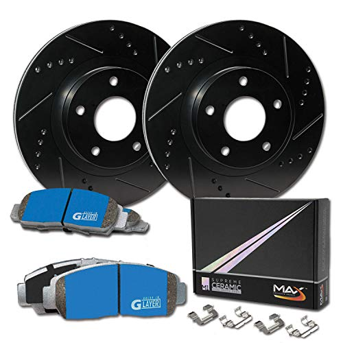 Max Brakes Front Supreme Brake Kit [ E-Coated Slotted Drilled Rotors + Ceramic Pads ] KM052681 | Fits: 2006 06 Mitsubishi Lancer Ralliart Models w/ 5 Lugs Rotors