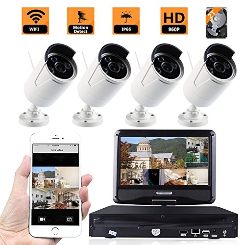 ZY 4PCS HD WiFi Wireless Indoor Outdoor Home Security Camera System with HDMI NVR with 10'' inch LCD Screen Display Monitor, Remote Playback, Cloud Service Available (With 2TB HDD) (960P) by ZY