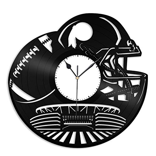 VinylShopUS - Redskins NFL Vinyl Wall Clock Sports Clock Unique Gift for Football Lovers | Home Room Decoration
