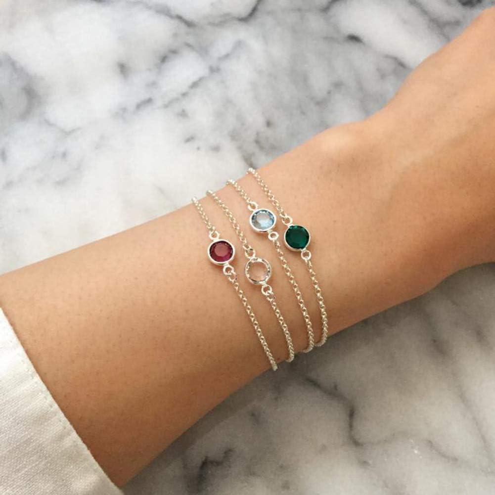 Dec Birthday Gift for Girls and Women 6.7 inch-7.5 inch Customemo Birthstone Bracelet Gold Plated Imitation Birthstone/Bangle Jan