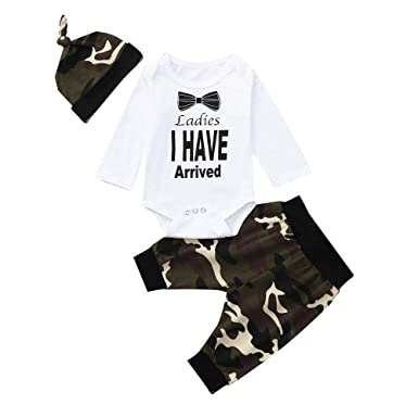 59821721dec2 Amazon.com  Oldeagle Newborn Infant Baby Boy Ladies I Have Arrived Letter Romper  Tops Camouflage Pants Hat 3PCs Clothing Set  Clothing