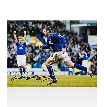 11df8a408 Wayne Rooney Autographed Photo - Everton Goal vs Portsmouth - Autographed  Soccer Photos
