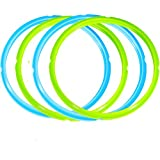 Silicone Sealing Rings for Instant Pot Accessories 5 / 6 Quart ,Seal Lasting and BPA-free , Blue , Green (4 Pack)