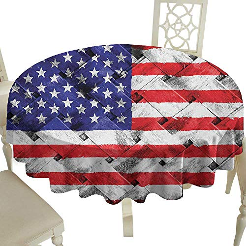 (outdoor round tablecloth 50 Inch USA,Fourth of July Independence Day Thatch Rattan Rippled Weave Bamboo Graphic Art,Navy Blue Red White Great for,family,outdoors,restaurant,Party,Wedding,Coffee)