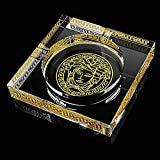 Heavy Crystal Ashtray - Square, Large Home Decor Office Cigar Ashtray, Outdoor Garden Hand Painted Ashtray (Gold+Transparent) (Size : L)