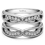 TwoBirch 0.24 ct. Cubic Zirconia Criss Cross Anniversary Style Jacket Ring Guard in Sterling Silver (1/4 ct. twt.)
