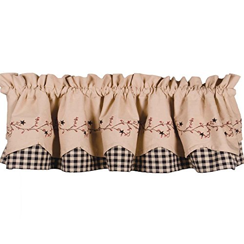 - Primitive Home Decors Star Berry Vine Check Fairfield Valance - Black
