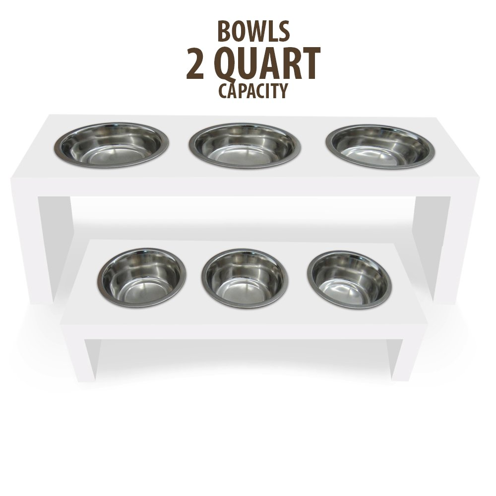 PVC Elevated Dog and Cat Pet Feeder, Double Bowl Raised Stand (2 quart), 3/4'' thick, 25'' x 12'' x 10'' Tall