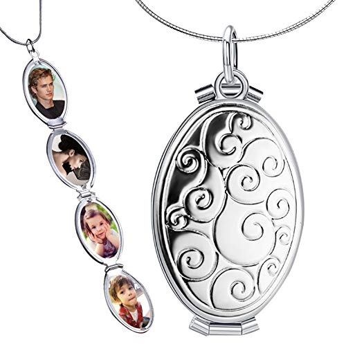 Nanafast Expanding Photo Locket Necklace Pendant, 4 Pictures Locket Chain Necklaces Silver Gold Color- Memorial Gifts for Women Girls Silver Style 1