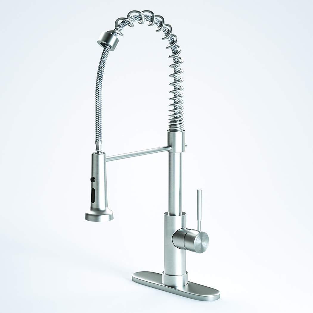 EGISO Single Handle Kitchen Faucet,Stainless Steel Pull down Sprayer for kitchen,Kitchen Sink Faucet with Pull Out Spring Brushed Nickel Sprayer