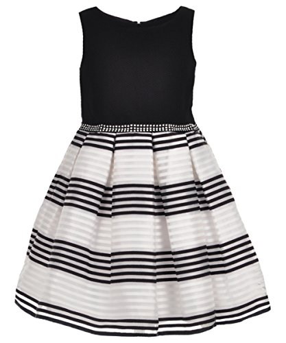 Youngland Little Girls' Organza Stripe Special Occasion Dress, Black/White, 5
