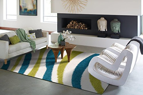 Large Ideal Shag Collection Rugs 6x9 Turquoise Blue White Green Wavy Pattern Rug 6x8 Cozy Soft Modern For Living Room