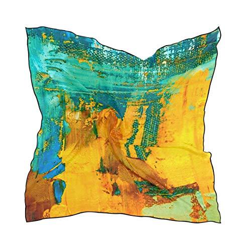 ZANSENG Bufanda de seda de poliester suave para mujer, 23 62x23 62 grande Cuadrado Impreso Fondo de arte abstracto Pintura al oleo sobre bufanda de seda