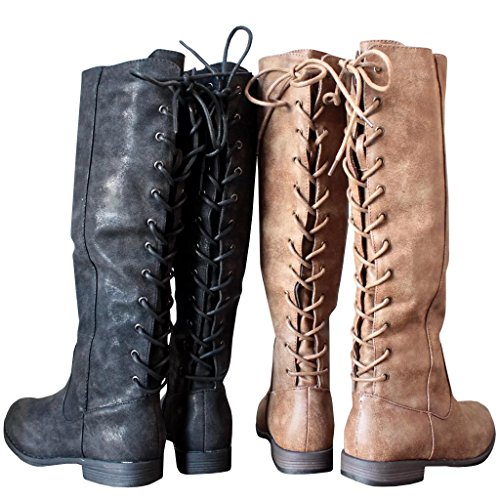 Strappy Motorcycle Low Boots Winter Leather Riding Up brown Womens Syktkmx 5 Knee Heel Lace High Yx8wt7pFq