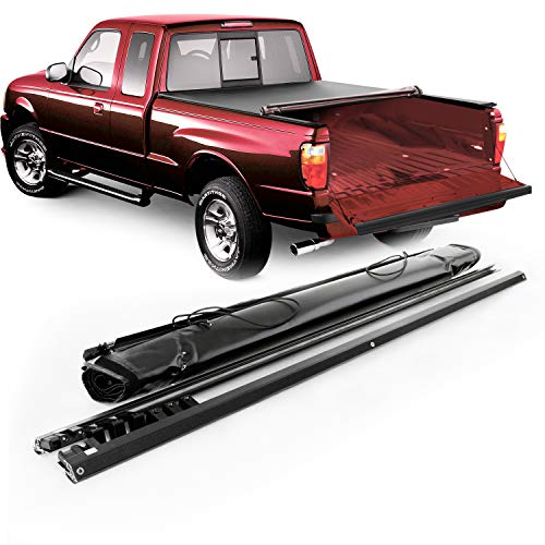 Fits 1983-2011 Ford Ranger | 1994-2010 Mazda B2300 B2500 B3000 B4000 6 Ft 72 Inches Bed Black Soft Roll Up Tonneau Cover