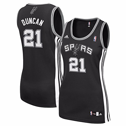 Tim Duncan San Antonio Spurs Adidas Womens Player Jersey (Black) Small