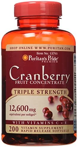 Puritans Pride Triple Strength Cranberry Fruit Concentrate 12,600 Mg