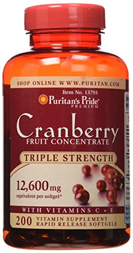 Triple Strength Natural Cranberry - Puritans Pride Triple Strength Cranberry Fruit Concentrate 12,600 Mg, 200 Count