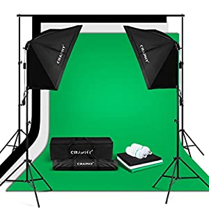"CRAPHY 2x125W 5500K Photography Studio Soft Box Lights Continuous Lighting Kit for Photo Video (20x28"" Softbox + 3 Muslin Backdrops (White Black Green) + Background Support Stand (10x6.5ft)"