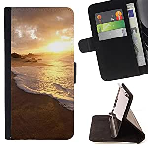 DEVIL CASE - FOR Samsung Galaxy S5 Mini, SM-G800 - Nature Water Sunset - Style PU Leather Case Wallet Flip Stand Flap Closure Cover
