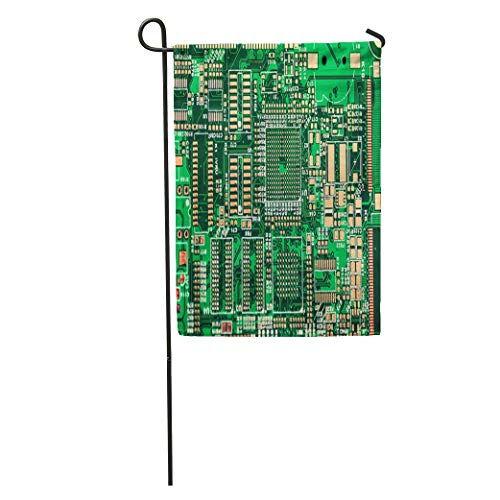 Semtomn Garden Flag Bga Printed Circuit Board PCB Technology Pattern Routing Trace Circuitry Home Yard House Decor Barnner Outdoor Stand 12x18 Inches Flag