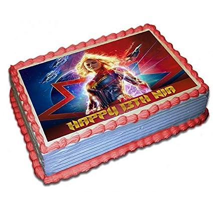 Papel de azúcar personalizado para tartas de Capitán Marvel ...