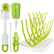 Baby Bottle Brush with Dryer Rack & Nipple Brush |Baby Bottle Cleaner Cleaning Brush & Bottle Drying Rack for Baby Bottles Set | Long Sponge Bottle Brush Cleaner with Non-Slip Grip Handle