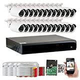 Cheap GW Security 32 Channel HDMI CCTV 1.3MP Security Surveillance DVR System with 24 x 1300TVL 720p High Resolution Weatherproof Security Cameras and Pre-Installed 4TB Hard Drive