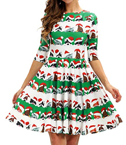 GLUDEAR Xmas Print Pleated Skater Swing Dress for Christmas Party Costume,Funny Xmas -