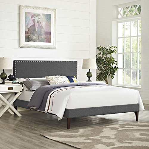 Modway Macie Fabric Upholstered Queen Platform Bed Frame With Tapered Legs in Gray