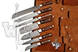 WP-1081 Custom Handmade Damascus Kitchen/Chef Knife Set 7/Piece Pocket Case Chef Knife Roll Bag By World Points (Walnut Wood)