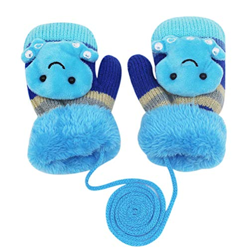 Baby Boys Girls Winter Warm Knitted Gloves Plush Fleece Lined Cartoon Animal Mittens