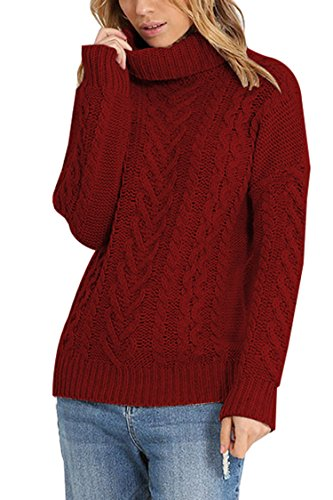 Pink Queen Womens 100% Cotton Turtleneck Ribbed Cable Knit Pullover Sweater