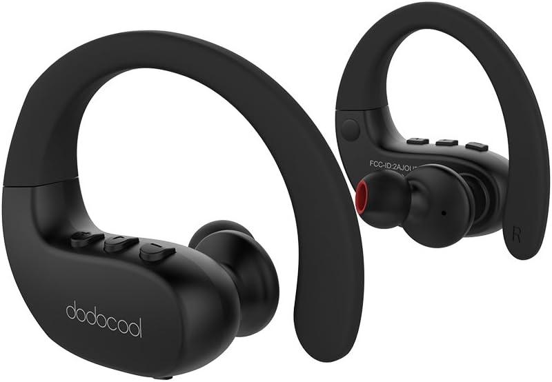 dodocool Auricolare Sportive In Ear Wireless Cuffie Stereo IPX5 Impermeabile con HD Mic CVC 6.0 Cancellazione al Rumore per iPhone/iPad/iPod/Samsung S8 e Le Compresse Smartphone più Popolari Nero
